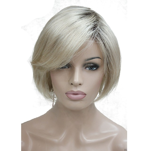 Synthetic Wig Bob Wig Blonde Short Blonde Synthetic Hair Women's Dark Roots Blonde StrongBeauty
