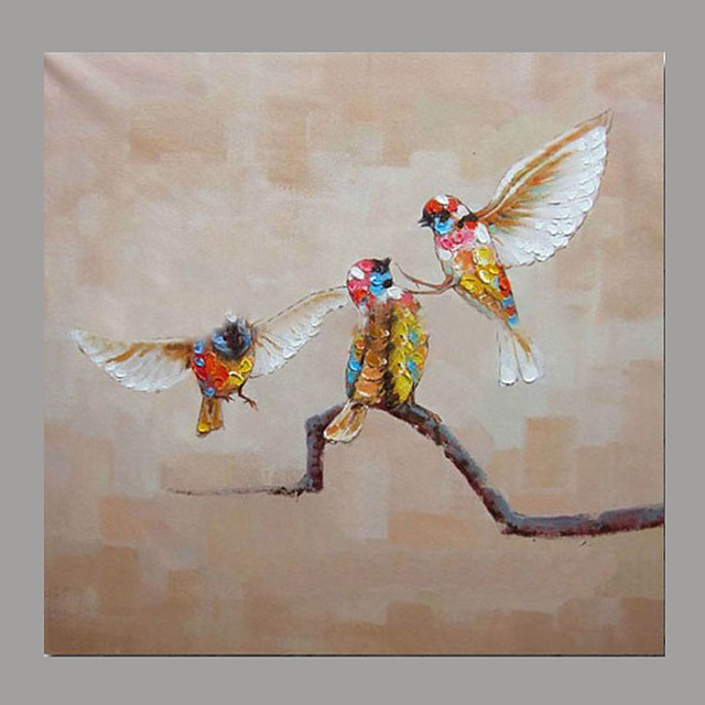 Hand-Painted Animals Horizontal Panoramic,Simple Rustic Modern Canvas Oil Painting Home Decoration One Panel