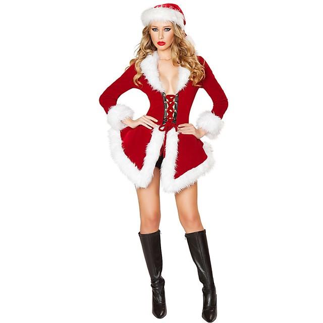 산타 클로스 Mrs.Claus 코스츔 여성용 크리스마스 페스티발 / 홀리데이 폴리스터 레드 여성용 쉬운 카니발 코스츔 솔리드 휴가 / 드레스 / 모자 / 더 많은 악세서리들 / 드레스 / 더 많은 악세서리들
