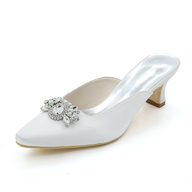 Women's Wedding Shoes Square Toe Rhinestone Satin Basic Pump Spring / Summer White / Purple / Champagne / Party & Evening