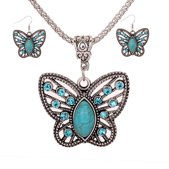 Women's Turquoise Drop Earrings Necklace Butterfly Ladies Elegant Vintage Fashion Elizabeth Locke Turquoise Earrings Jewelry Silver For Daily