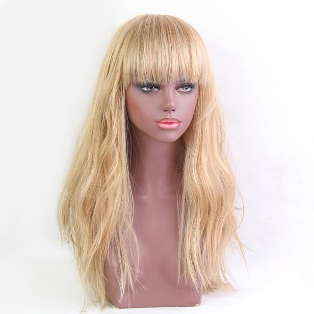 Human Hair Wig Long Wavy Wavy Natural Hairline Machine Made Women's Black#1B Honey Blonde Medium Auburn / Bleach Blonde 24 inch