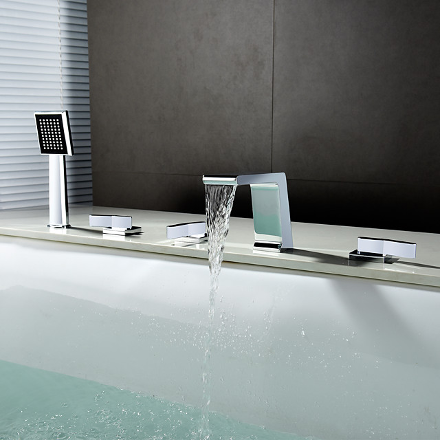 Contemporary Widespread Waterfall Brass Valve Three Handles Five Holes Chrome, Bathtub Faucet