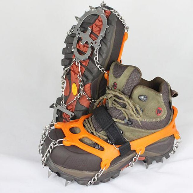 Traction Cleats Crampons Outdoor Non-Slip Stainless Steel Metal Alloy Rubber Climbing Outdoor Exercise Orange