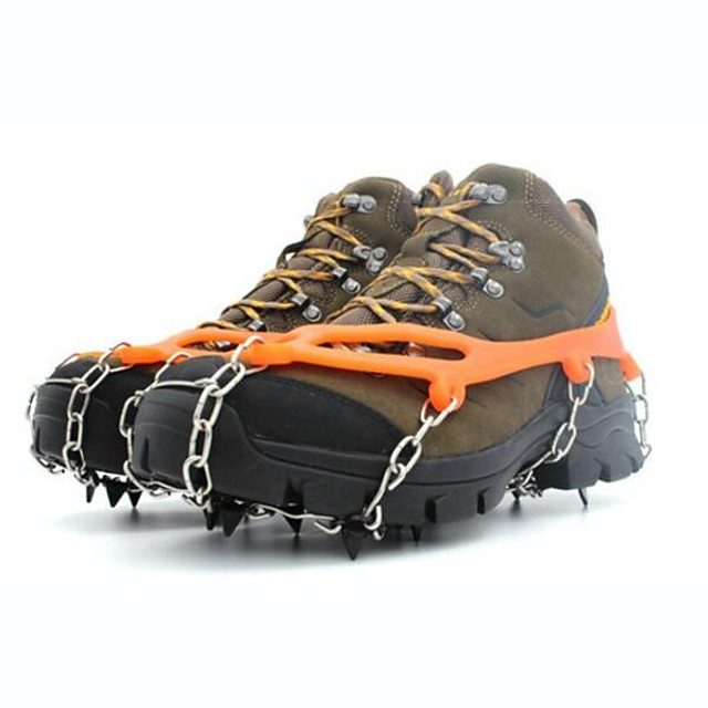Traction Cleats Crampons Outdoor Non-Slip Metal Alloy Rubber Outdoor Exercise Black Orange Red+Golden