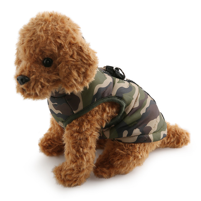 Dog Coat Vest Camo / Camouflage Casual / Daily Outdoor Winter Dog Clothes Breathable Camouflage Color Purple Yellow Costume Cotton XS S M L