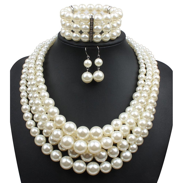 Women's Pearl Jewelry Set Statement Ladies Imitation Pearl Earrings Jewelry Beige For Casual Evening Party Prom / Necklace
