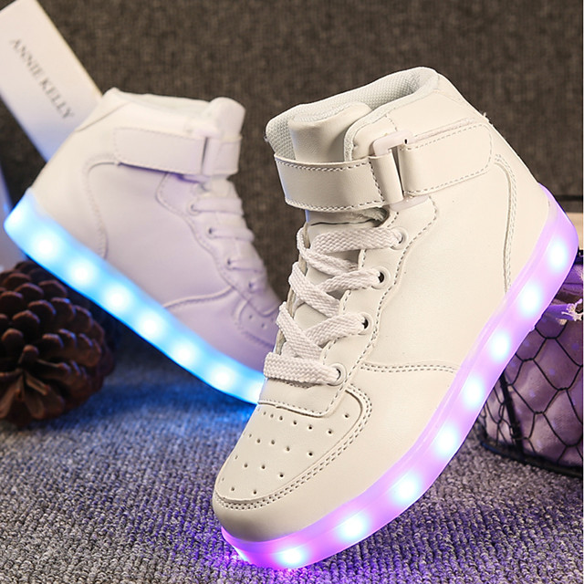 Girls' Sneakers LED / Comfort / LED Shoes Customized Materials / Leatherette Little Kids(4-7ys) / Big Kids(7years +) Walking Shoes Lace-up / Hook & Loop / LED White / Black / Red Spring & Summer / TR