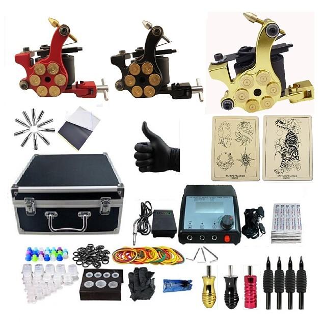 BaseKey Professional Tattoo Kit Tattoo Machine - 3 pcs Tattoo Machines, Professional Alloy 20 W 3 alloy machine liner & shader / Case Included