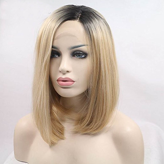 Synthetic Lace Front Wig Straight Straight Bob Lace Front Wig Blonde Short Black / Honey Blonde Synthetic Hair Women's Dark Roots Blonde / Doll Wig