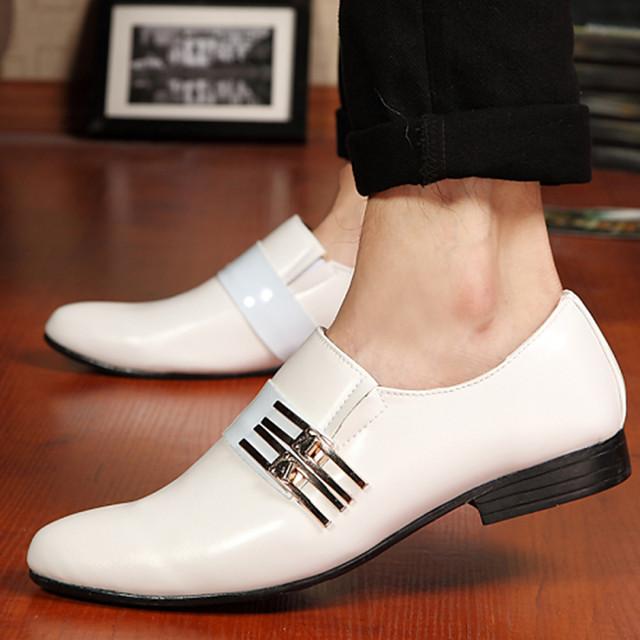 Men's Dress Shoes Faux Leather Spring / Fall Business Oxfords Slip Resistant Black / White / Brown / Wedding / Rivet / Comfort Shoes / EU40