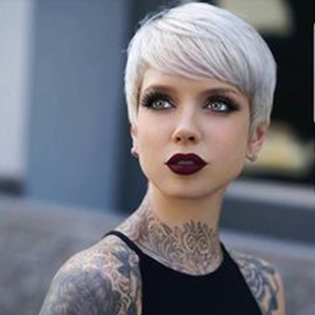 Human Hair Blend Wig Short Straight Pixie Cut Short Hairstyles 2020 Straight Short Side Part Machine Made Women's Natural Black #1B Silver Medium Auburn#30 8 inch