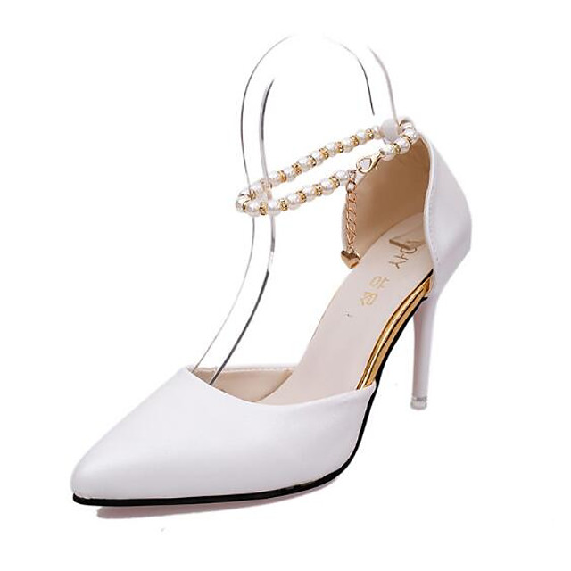 Women's Heels Stiletto Heel Pointed Toe Patent Leather Basic Pump Spring / Fall White / Black / Pink / 3-4