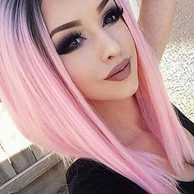 Synthetic Wig kinky Straight kinky straight Layered Haircut Wig Pink Short Black / Pink Synthetic Hair Women's Ombre Hair Pink