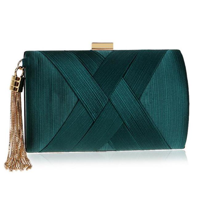 Women's Bags PU Leather Silk Clutch Tassel Plain Party Event / Party Evening Bag Wedding Bags Handbags Black Blue Purple Red