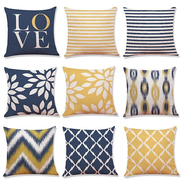Set of 9 Premium Living Series Rustic Tie Die Decorative Throw Pillow Case Cushion Cover 18 x 18 inches 45 x 45 cm