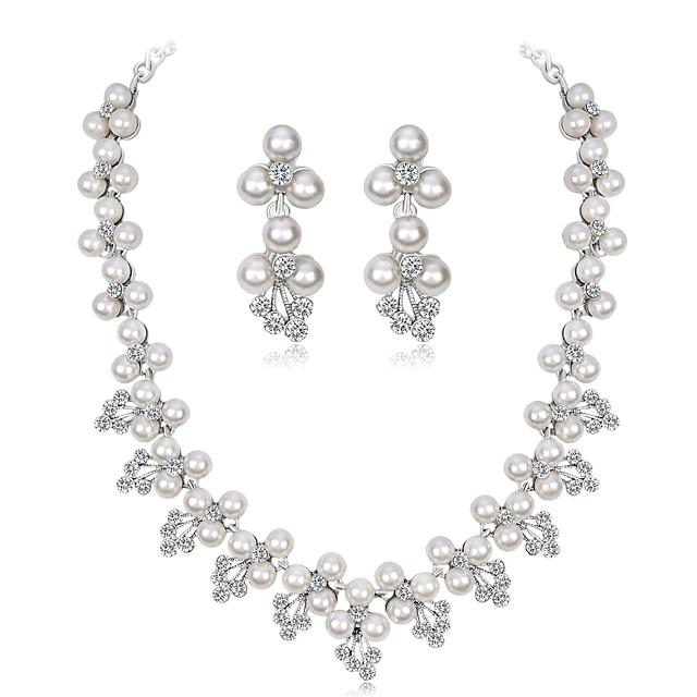 Women's Jewelry Set Leaf Flower Ladies Elegant Imitation Pearl Zircon Silver Plated Earrings Jewelry Silver For Wedding Evening Party