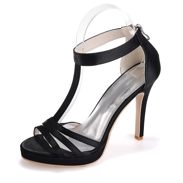 Women's Sandals Stiletto Heel Open Toe Satin Basic Pump Spring / Summer Black / White / Purple / Party & Evening / Party & Evening