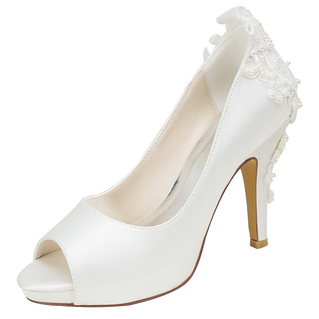 Women's Stretch Satin Spring / Fall Basic Pump Wedding Shoes Stiletto Heel Peep Toe Pearl Ivory / Party & Evening