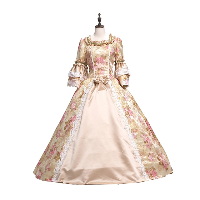Rococo Victorian Dress Party Costume Masquerade Ball Gown Lace Party Prom Japanese Cosplay Costumes Plus Size Customized Pink Ball Gown Floral Vintage Long Sleeve Floor Length