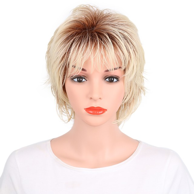 Synthetic Wig Straight Straight Pixie Cut Wig Blonde Short Blonde Synthetic Hair Women's Ombre Hair Blonde