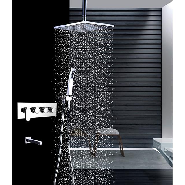 Βρύση Ντουζιέρας Σειρά - Περιλαμβάνεται Τηλέφωνο Ντουζιέρας Ντουζιέρα Βροχή Σύγχρονο Χρώμιο Τοποθέτηση στο Ταβάνι Κεραμική Βαλβίδα Bath Shower Mixer Taps / Ορείχαλκος / Τέσσερις λαβές τέσσερις τρύπες