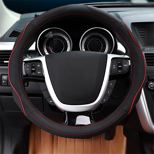 Steering Wheel Covers Genuine Leather 38cm Blue / Red / Beige For Ford Focus / Escort / Mondeo All years