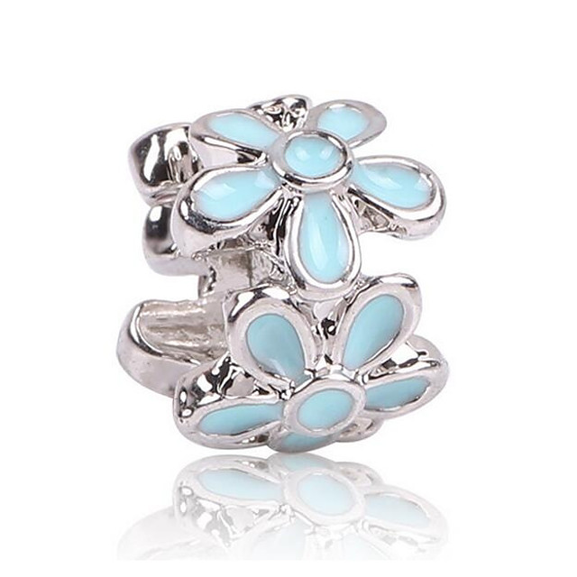 DIY Jewelry 1 pcs Beads Zircon Alloy Black Light Blue Flower Bead 0.5 cm DIY Necklace Bracelet