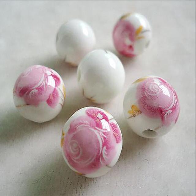 DIY Jewelry 10 pcs Beads Terra-cotta Fuchsia Red Blue Light Brown Light Pink Round Bead 1 cm DIY Necklace Bracelet