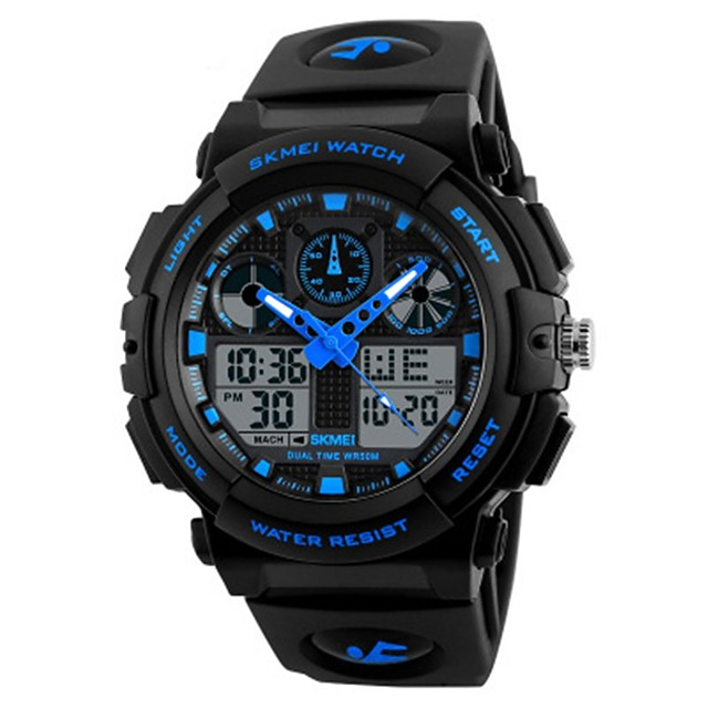 SKMEI Boys' Wrist Watch Digital Casual Water Resistant / Waterproof Analog - Digital Red Blue Gold / Quilted PU Leather / Calendar / date / day / Stopwatch / Noctilucent