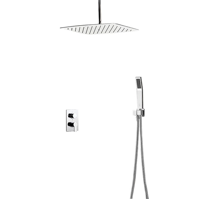 Shower Faucet - Contemporary Stainless Steel Ceiling Mounted Ceramic Valve Bath Shower Mixer Taps / Brass / Two Handles Three Holes