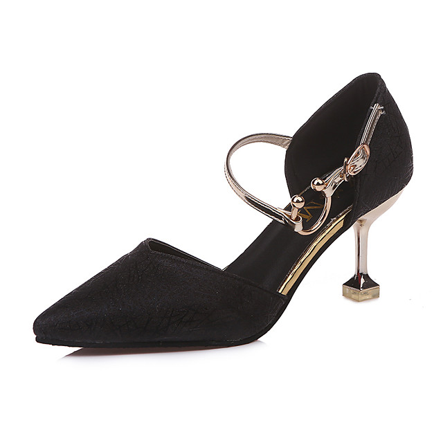 Women's Heels Kitten Heel Pointed Toe PU Comfort / Fashion Boots Spring / Summer Black / Gold / Silver / Dress / EU37