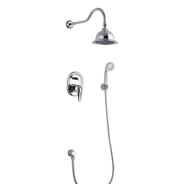 Shower Faucet - Contemporary Chrome Wall Mounted / Brass