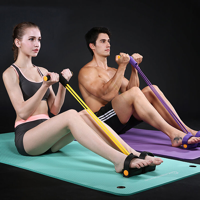 Pedal Resistance Band Sit-up Pull Rope Natural Latex Bodybuilding Expander Sports Latex Home Workout Gym Pilates Strength Training Muscular Bodyweight Training Physical Therapy Weight Loss For Waist