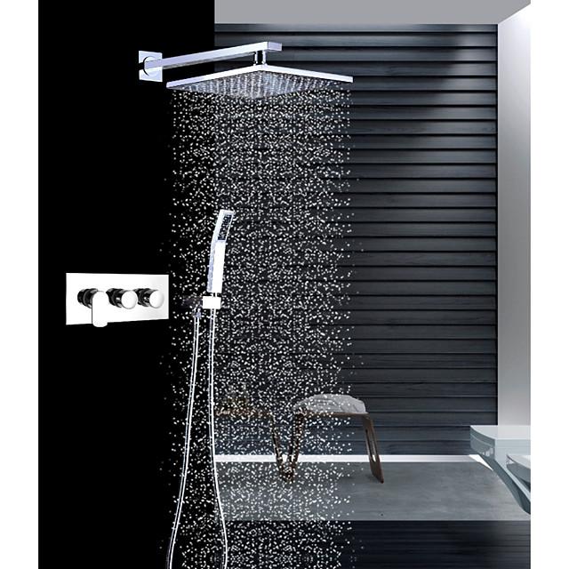 Slavina za tuš - Suvremena Chrome Zidne slavine Keramičke ventila Bath Shower Mixer Taps / Brass / Tri Ručke tri rupe