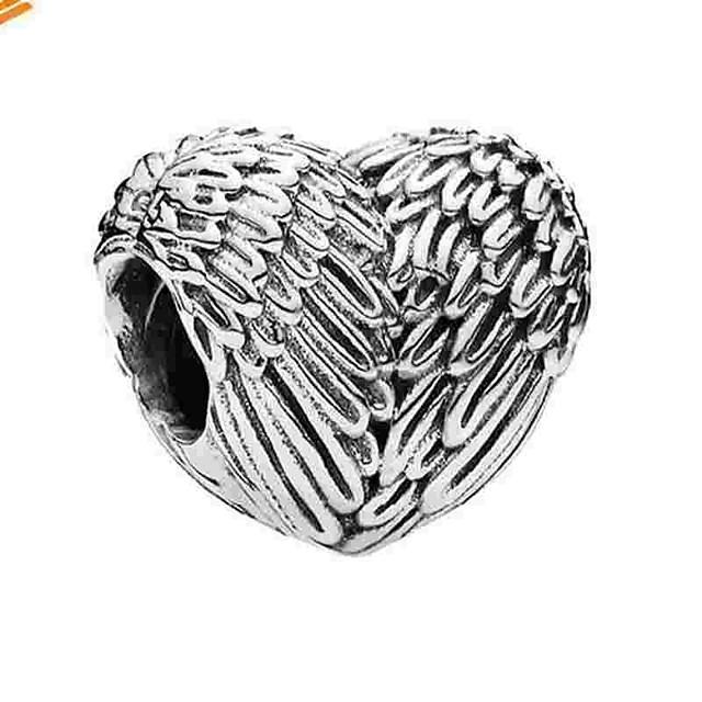 DIY Jewelry 1 pcs Beads Alloy Silver Heart Bead 0.5 cm DIY Necklace Bracelet