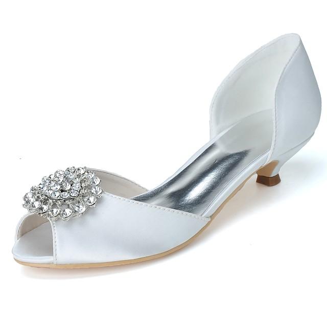 Women's Wedding Shoes Glitter Crystal Sequined Jeweled Kitten Heel Peep Toe Rhinestone Satin Basic Pump Spring / Summer Purple / Champagne / Blue / Party & Evening