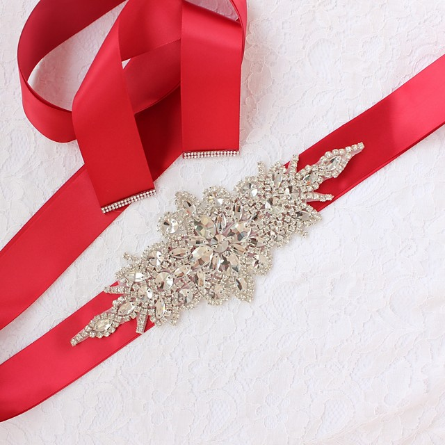Satin / Tulle Wedding / Special Occasion Sash With Rhinestone Women's Sashes
