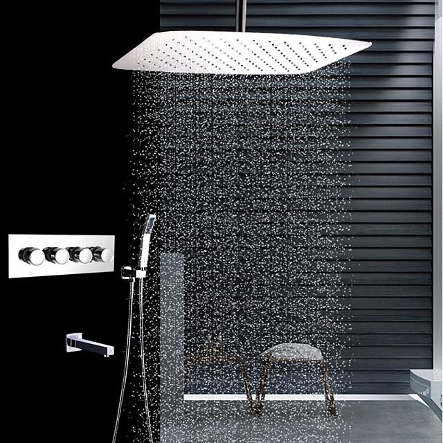 Βρύση Ντουζιέρας Σειρά - Περιλαμβάνεται Τηλέφωνο Ντουζιέρας Θερμοστατικό Ντουζιέρα Βροχή Σύγχρονο Ανοξείδωτο Ατσάλι Τοποθέτηση στο Ταβάνι Κεραμική Βαλβίδα Bath Shower Mixer Taps / Ορείχαλκος