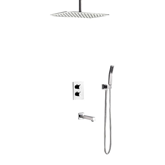 Shower Faucet - Contemporary Stainless Steel Ceiling Mounted Ceramic Valve Bath Shower Mixer Taps / Brass / Two Handles Four Holes