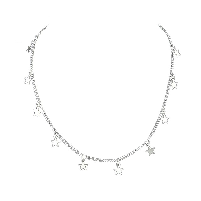 Women's Choker Necklace Star Ladies Simple Basic Alloy Gold Silver Necklace Jewelry For Daily Date