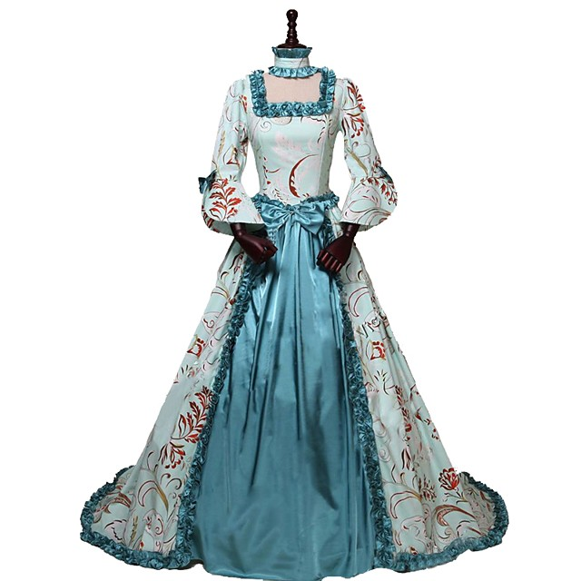 Rococo Victorian Costume Women's Outfits Print Vintage Cosplay 100% Cotton 3/4 Length Sleeve Puff / Balloon Sleeve Asymmetrical