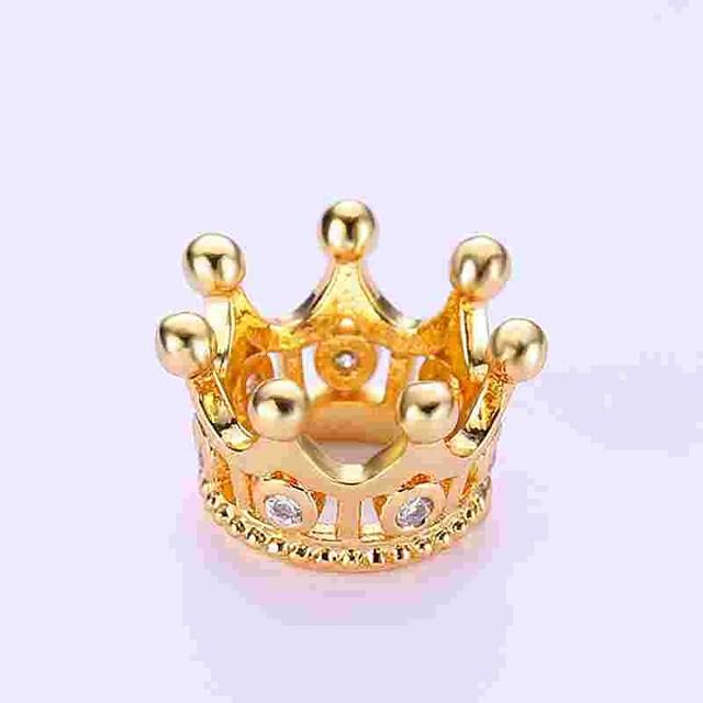 DIY Jewelry 1 pcs Beads Imitation Diamond Alloy Gold Silver Crown Bead 0.5 cm DIY Necklace Bracelet