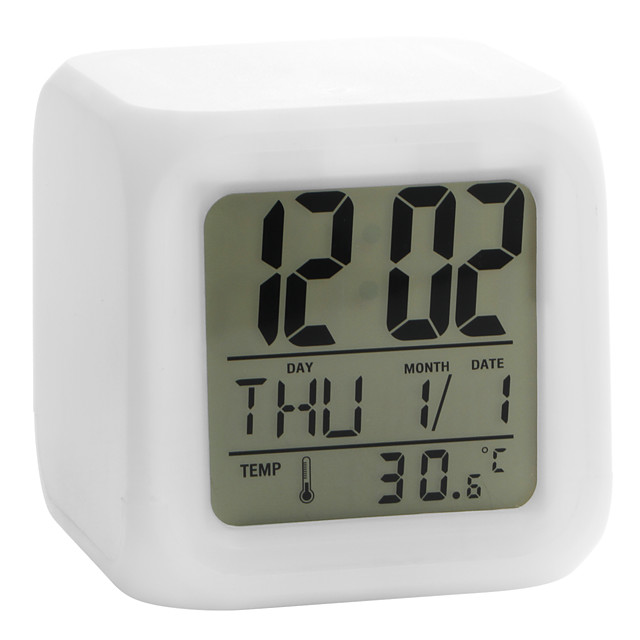 Colorful Glowing Cubic Digital Alarm Clock Calendar Thermometer 1pc(White, 4xAAA)