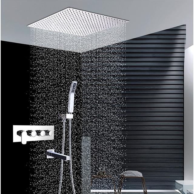 Βρύση Ντουζιέρας Σειρά - Περιλαμβάνεται Τηλέφωνο Ντουζιέρας Ντουζιέρα Βροχή Σύγχρονο Χρώμιο Επιτοίχια Εγκατάσταση Κεραμική Βαλβίδα Bath Shower Mixer Taps / Ορείχαλκος / Τέσσερις λαβές τέσσερις τρύπες