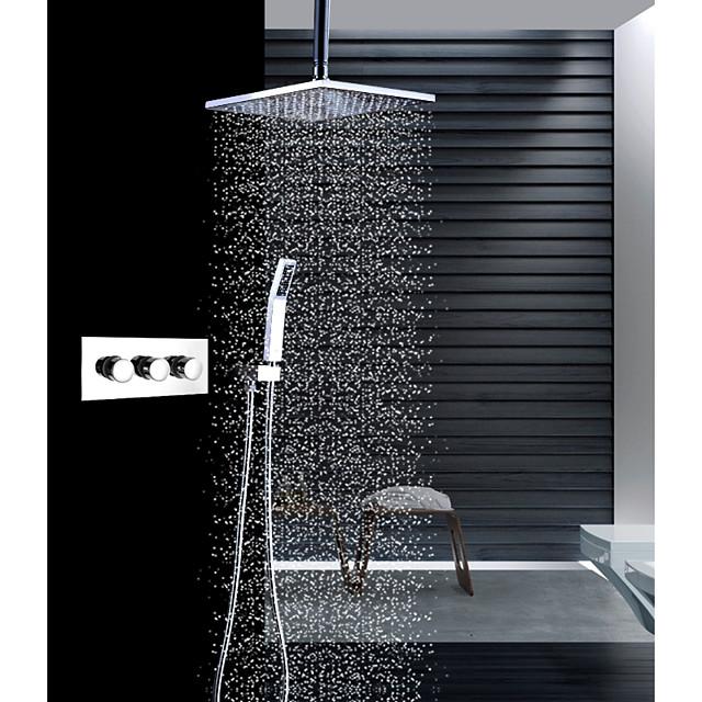 Slavina za tuš - Suvremena Chrome Stropna montaža Keramičke ventila Bath Shower Mixer Taps / Brass / Tri Ručke tri rupe