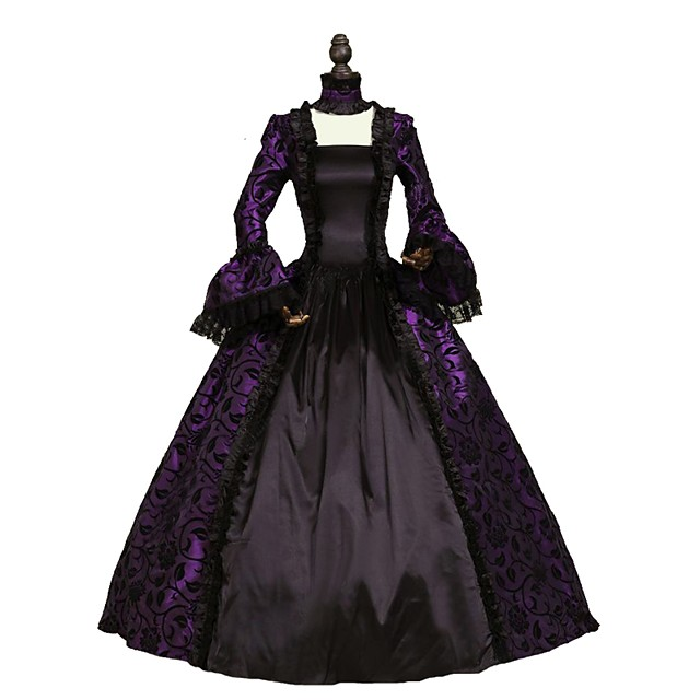 Rococo Victorian Costume Women's Dress Purple Vintage Cosplay Flocked Long Sleeve Bell Sleeve Ankle Length Ball Gown Plus Size Customized / Floral