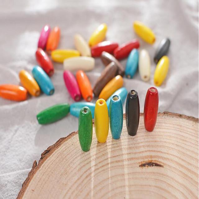 DIY Jewelry 30 pcs Beads Wood-Plastic Composite Rainbow Round Bead 0.8*0.23 cm DIY Necklace Bracelet