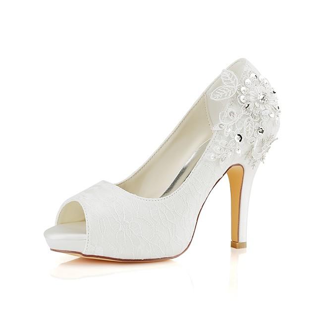 Women's Wedding Shoes Glitter Crystal Sequined Jeweled Stiletto Heel Peep Toe Basic Pump Wedding Party & Evening Crystal Elastic Fabric Summer Ivory / EU39