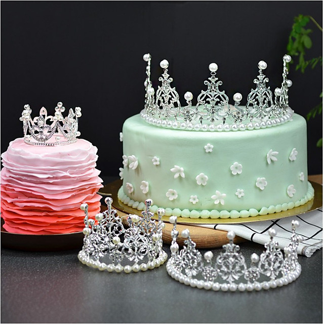 Cake Topper Fairytale Theme Romance Birthday Princess Cute Style Alloy Wedding Birthday with Rhinestone 1 OPP